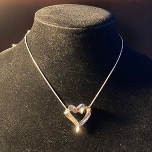 "Modern Sterling Heart Necklace 16"" Signed LA"